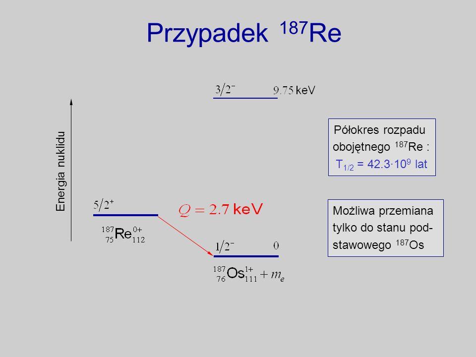 Przypadek 187 Re Energia nuklidu Półokres rozpadu obojętnego 187 Re : T 1/2 = 42.3·10 9 lat Możliwa przemiana tylko do stanu pod- stawowego 187 Os