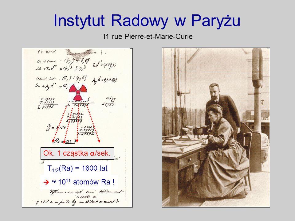 Instytut Radowy w Paryżu 11 rue Pierre-et-Marie-Curie Ok. 1 cząstka /sek. T 1/2 (Ra) = 1600 lat 10 11 atomów Ra !