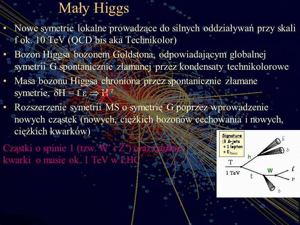 Mały Higgs Nowe symetrie lokalne prowadzące do silnych oddziaływań przy skali f ok. 10 TeV (QCD bis aka Technikolor) Bozon Higgsa bozonem Goldstona, o