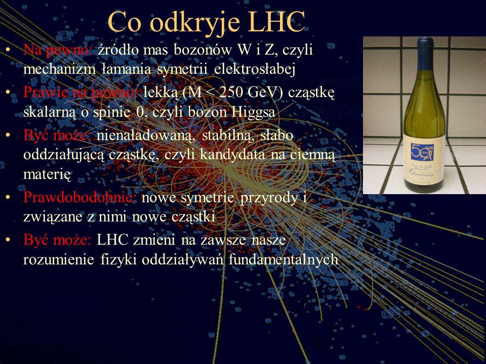 Co odkryje LHC Na pewno: źródło mas bozonów W i Z, czyli mechanizm łamania symetrii elektrosłabej Prawie na pewno: lekką (M < 250 GeV) cząstkę skalarn