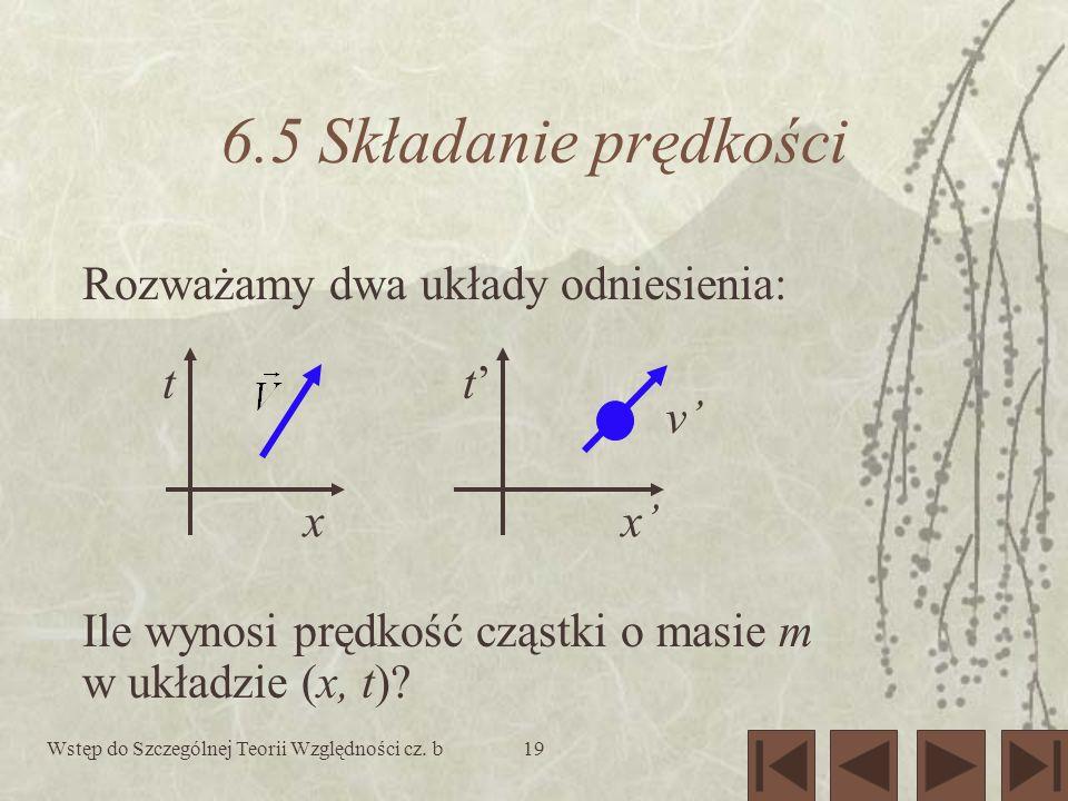 Wstęp do Szczególnej Teorii Względności cz. b19 6.5 Składanie prędkości tt xx v Rozważamy dwa układy odniesienia: Ile wynosi prędkość cząstki o masie