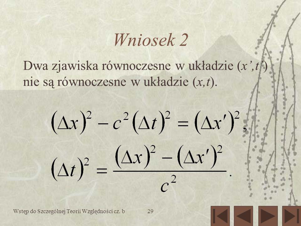 Wstęp do Szczególnej Teorii Względności cz. b29 Wniosek 2 Dwa zjawiska równoczesne w układzie (x,t) nie są równoczesne w układzie (x,t).