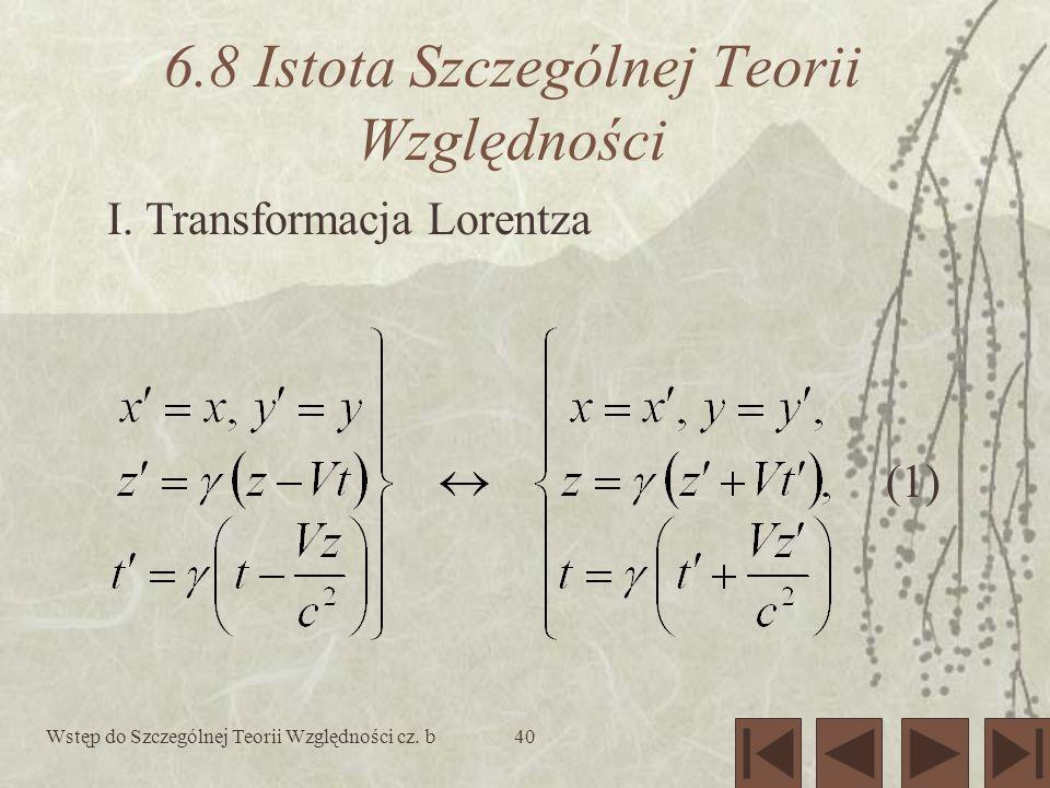 Wstęp do Szczególnej Teorii Względności cz. b40 6.8 Istota Szczególnej Teorii Względności I. Transformacja Lorentza (1)