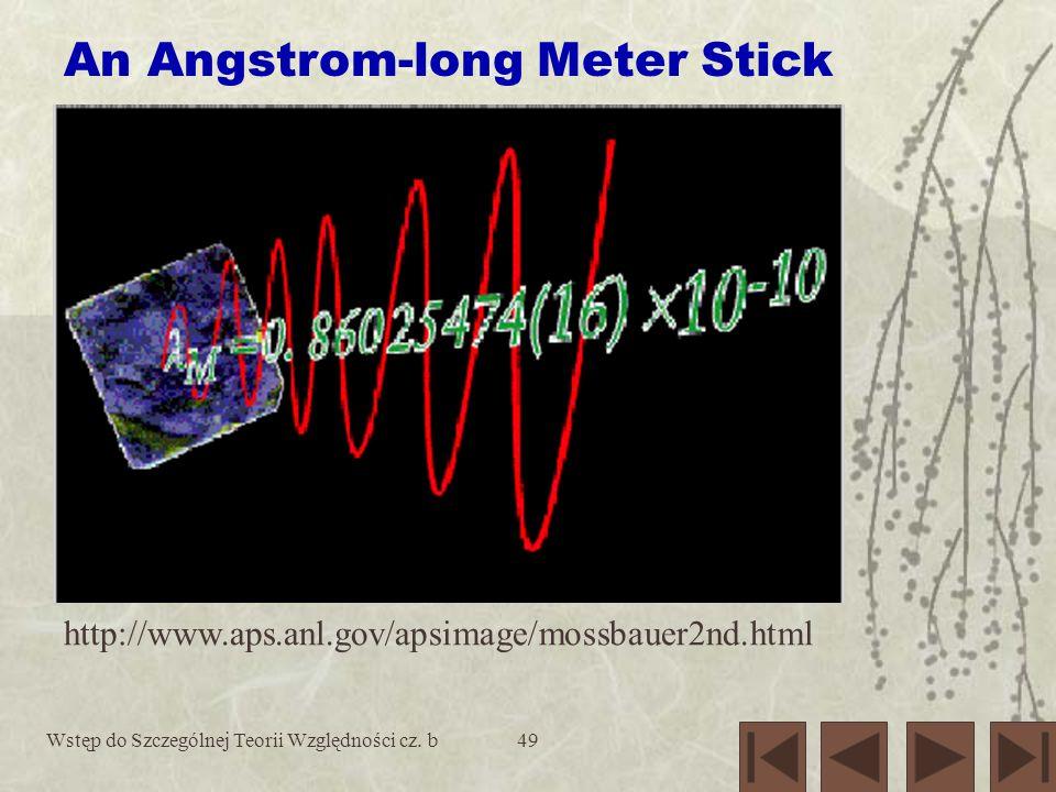 Wstęp do Szczególnej Teorii Względności cz. b49 An Angstrom-long Meter Stick http://www.aps.anl.gov/apsimage/mossbauer2nd.html