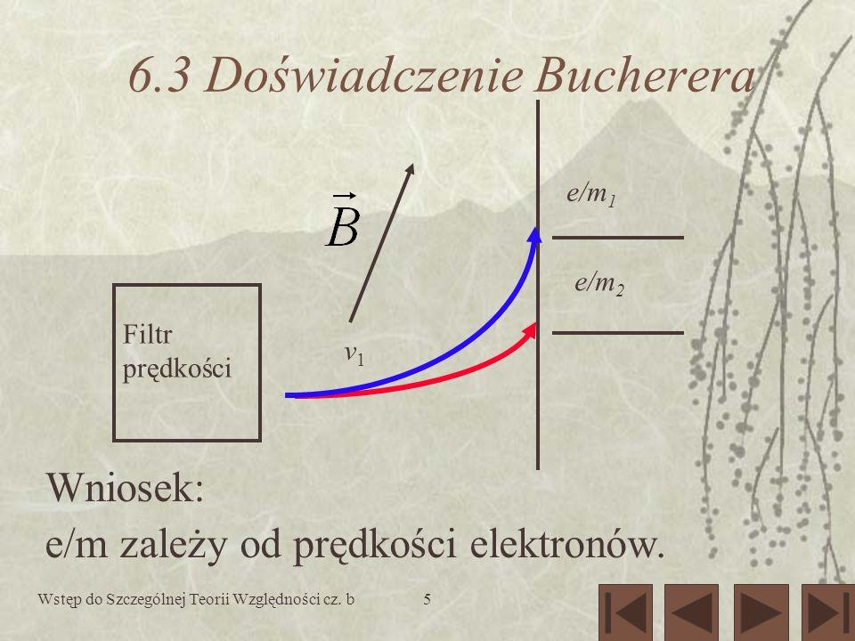 Wstęp do Szczególnej Teorii Względności cz. b5 6.3 Doświadczenie Bucherera Wniosek: e/m zależy od prędkości elektronów. Filtr prędkości v1v1 e/m 1 e/m