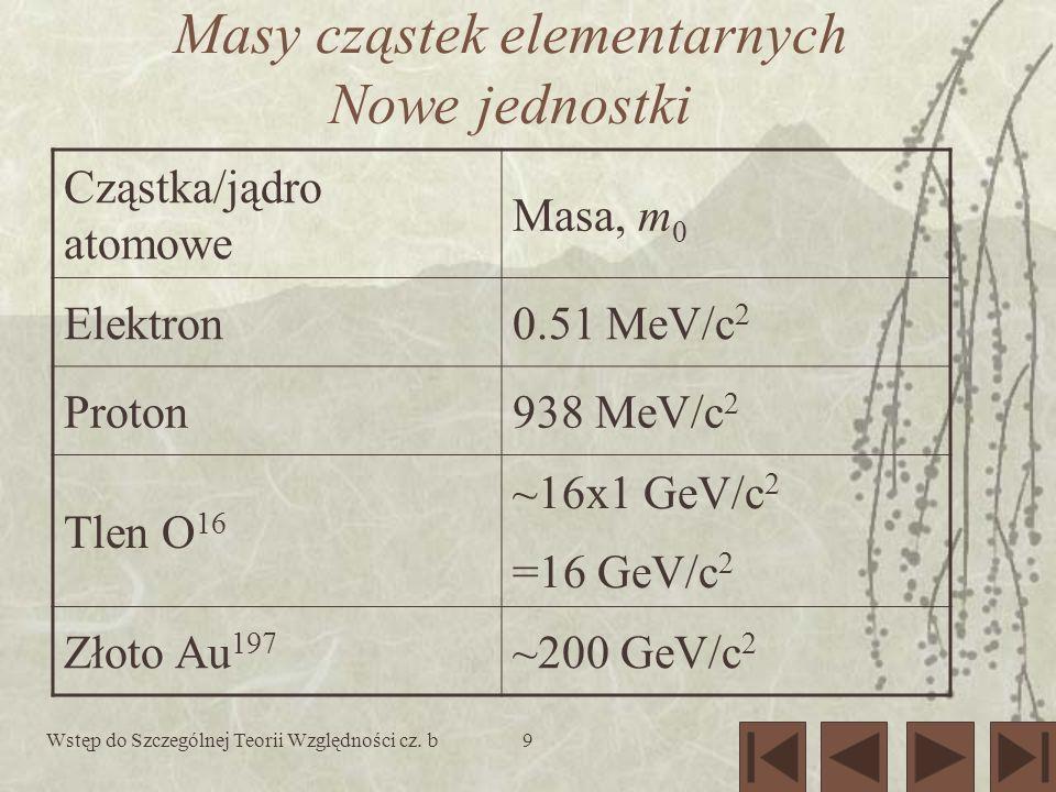 9 Masy cząstek elementarnych Nowe jednostki Cząstka/jądro atomowe Masa, m 0 Elektron0.51 MeV/c 2 Proton938 MeV/c 2 Tlen O 16 ~16x1 GeV/c 2 =16 GeV/c 2