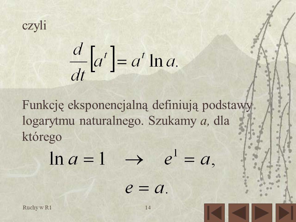 Ruchy w R114 czyli Funkcję eksponencjalną definiują podstawy logarytmu naturalnego.