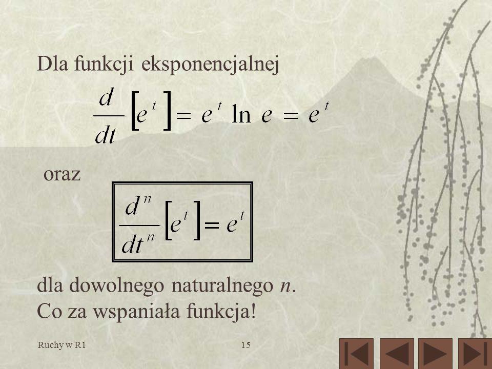 Ruchy w R115 Dla funkcji eksponencjalnej oraz dla dowolnego naturalnego n. Co za wspaniała funkcja!