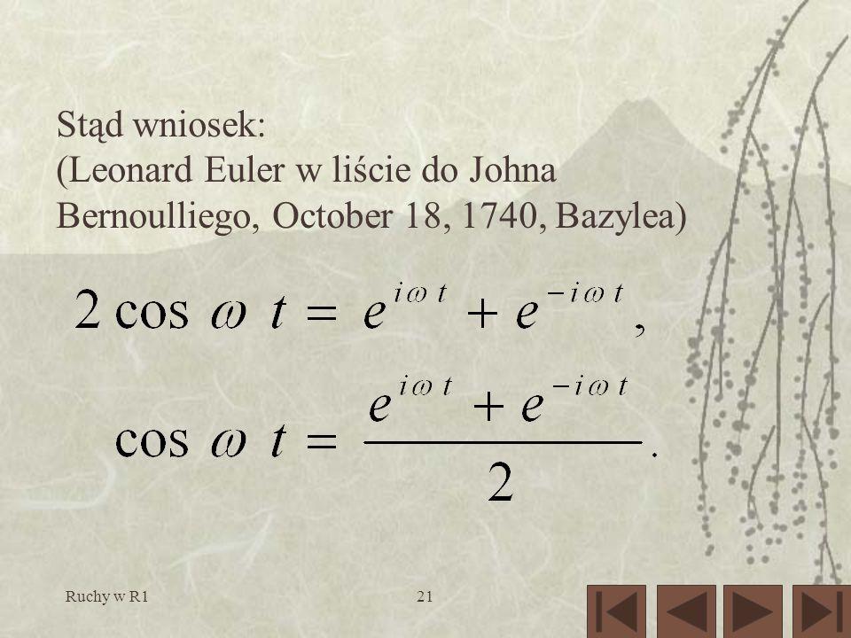 Ruchy w R121 Stąd wniosek: (Leonard Euler w liście do Johna Bernoulliego, October 18, 1740, Bazylea)