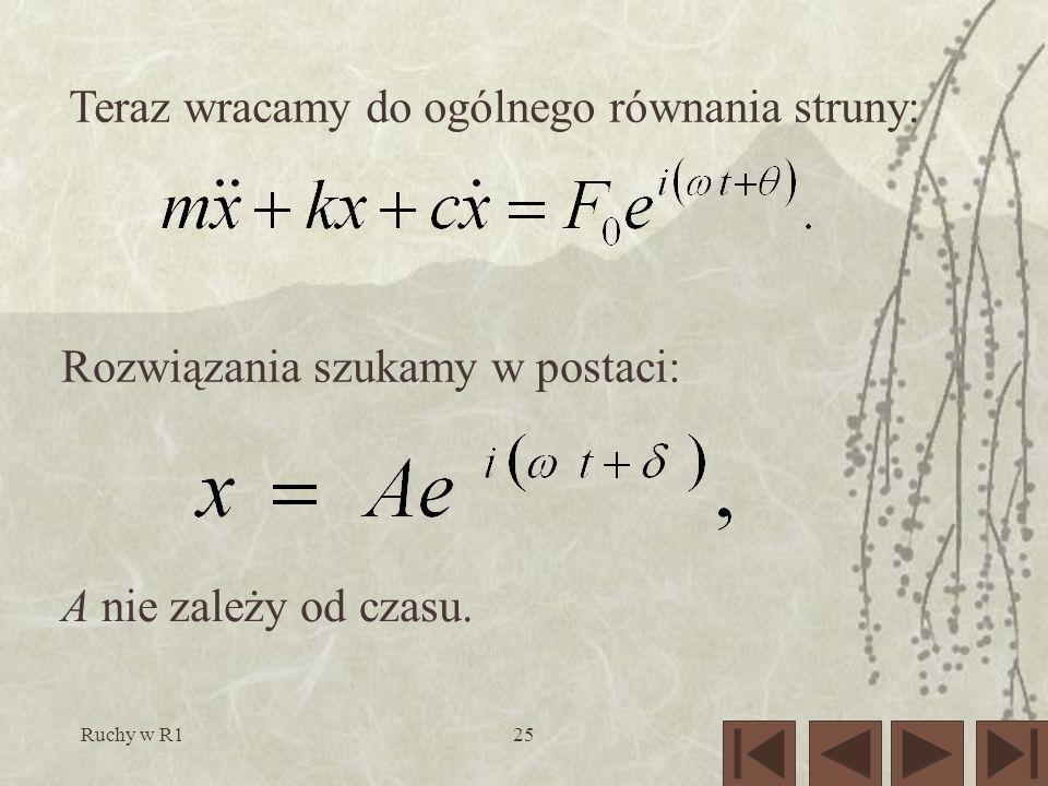 Ruchy w R125 Teraz wracamy do ogólnego równania struny: Rozwiązania szukamy w postaci: A nie zależy od czasu.
