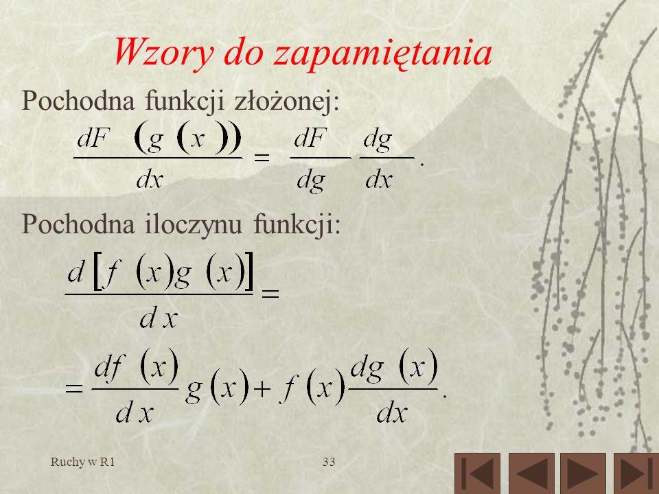 Ruchy w R133 Wzory do zapamiętania Pochodna funkcji złożonej: Pochodna iloczynu funkcji: