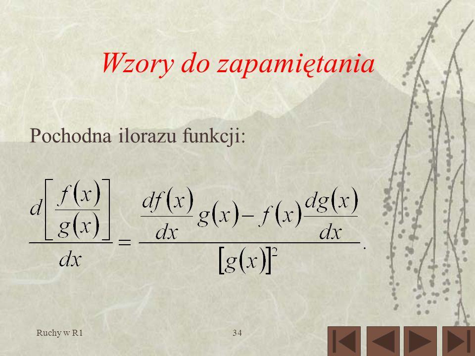 Ruchy w R134 Wzory do zapamiętania Pochodna ilorazu funkcji: