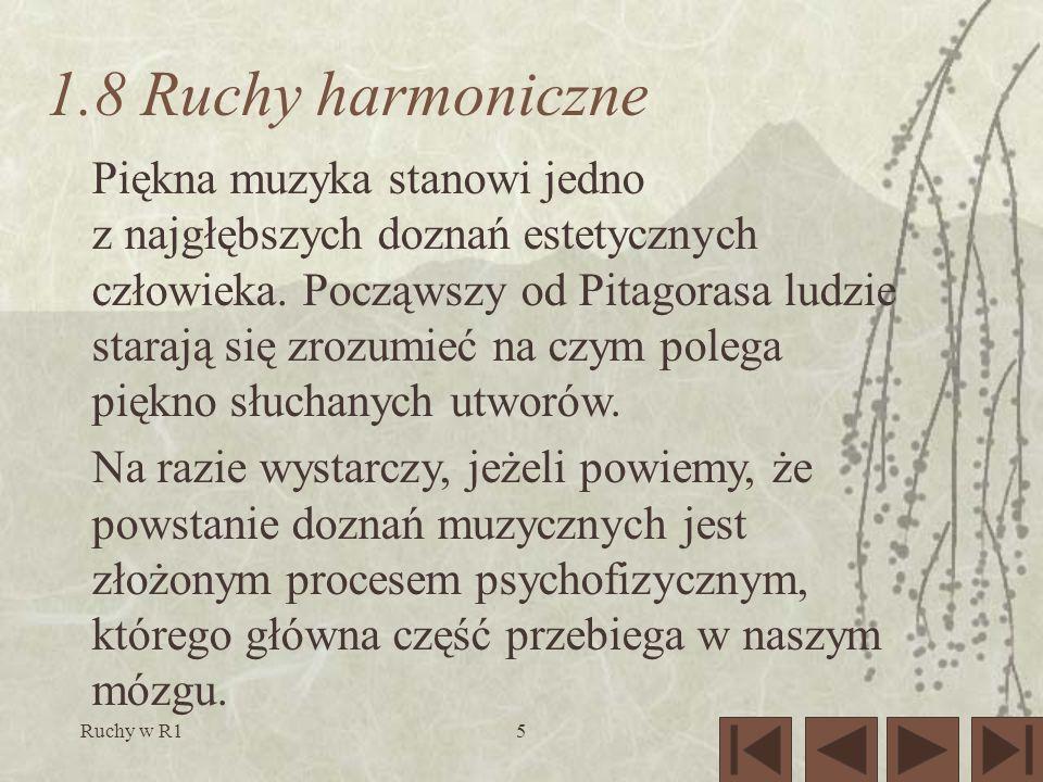 Ruchy w R15 1.8 Ruchy harmoniczne Piękna muzyka stanowi jedno z najgłębszych doznań estetycznych człowieka.