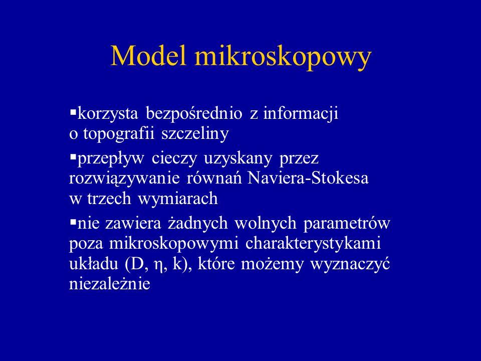 Model mikroskopowy korzysta bezpośrednio z informacji o topografii szczeliny przepływ cieczy uzyskany przez rozwiązywanie równań Naviera-Stokesa w trz