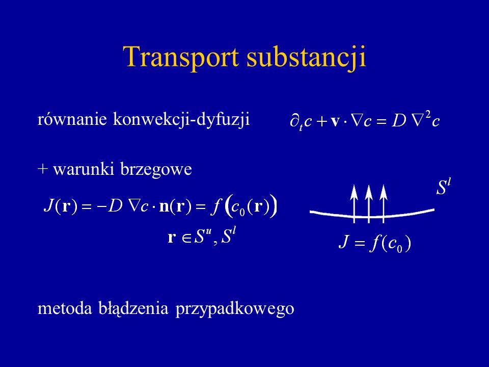 Transport substancji równanie konwekcji-dyfuzji + warunki brzegowe metoda błądzenia przypadkowego
