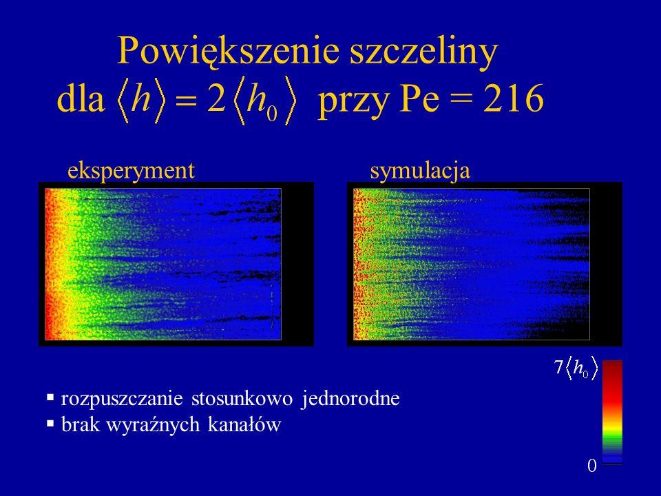 Powiększenie szczeliny dla przy Pe = 216 rozpuszczanie stosunkowo jednorodne brak wyraźnych kanałów eksperymentsymulacja