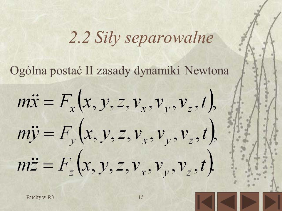 Ruchy w R315 2.2 Siły separowalne Ogólna postać II zasady dynamiki Newtona