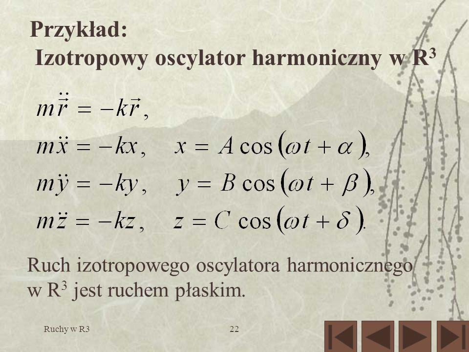 Ruchy w R322 Przykład: Izotropowy oscylator harmoniczny w R 3 Ruch izotropowego oscylatora harmonicznego w R 3 jest ruchem płaskim.