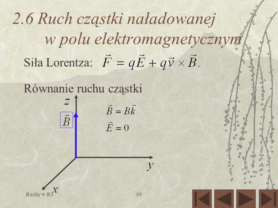 Ruchy w R330 2.6 Ruch cząstki naładowanej w polu elektromagnetycznym Siła Lorentza: Równanie ruchu cząstki