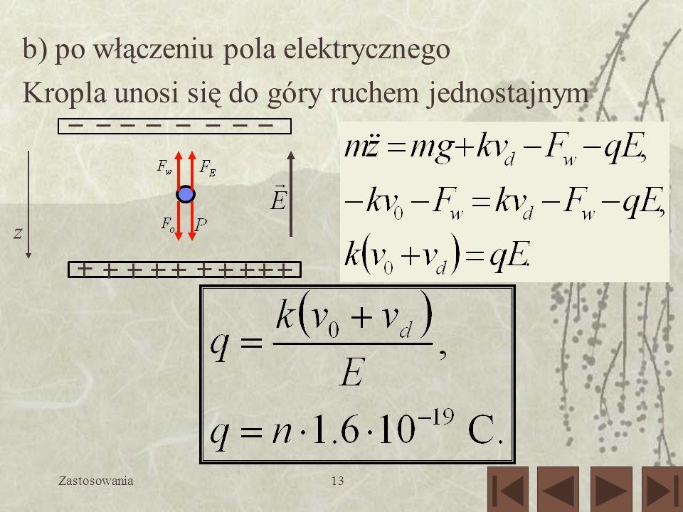Zastosowania13 b) po włączeniu pola elektrycznego Kropla unosi się do góry ruchem jednostajnym z