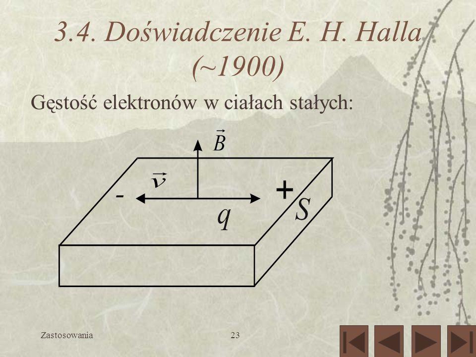 Zastosowania23 3.4. Doświadczenie E. H. Halla (~1900) Gęstość elektronów w ciałach stałych: