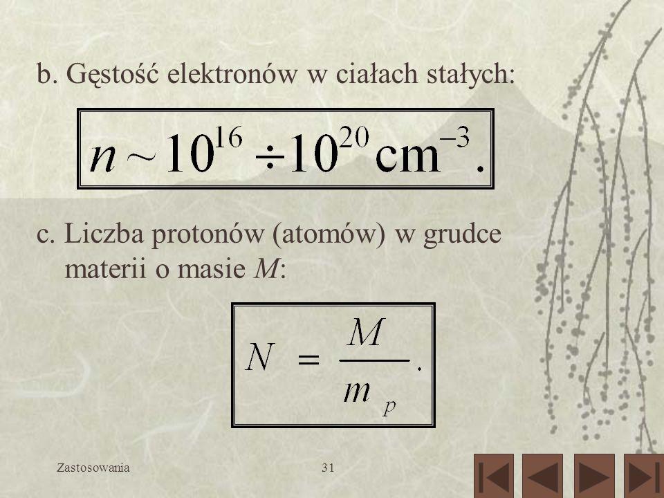 Zastosowania31 b. Gęstość elektronów w ciałach stałych: c. Liczba protonów (atomów) w grudce materii o masie M: