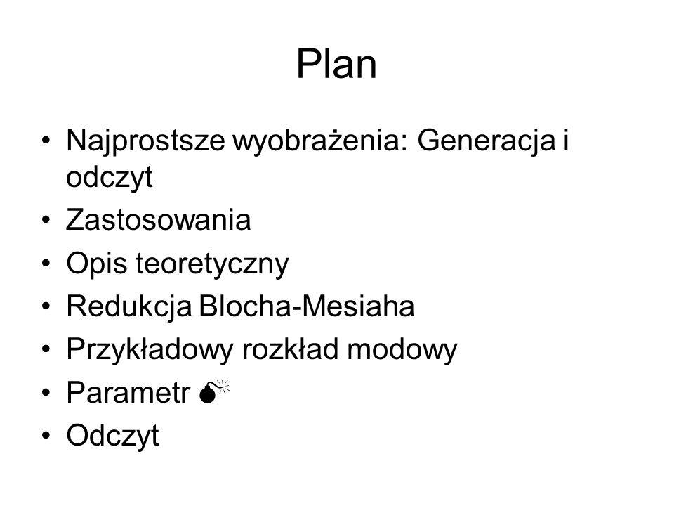 Plan Najprostsze wyobrażenia: Generacja i odczyt Zastosowania Opis teoretyczny Redukcja Blocha-Mesiaha Przykładowy rozkład modowy Parametr M Odczyt