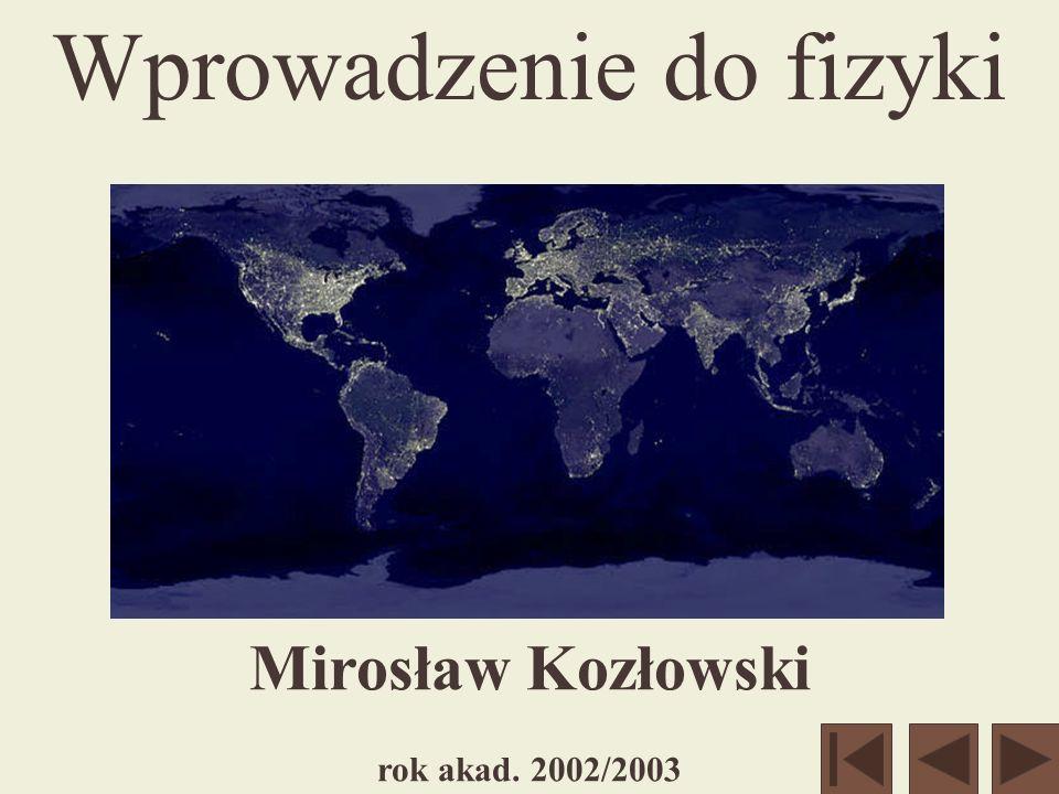 Mirosław Kozłowski rok akad. 2002/2003 Wprowadzenie do fizyki