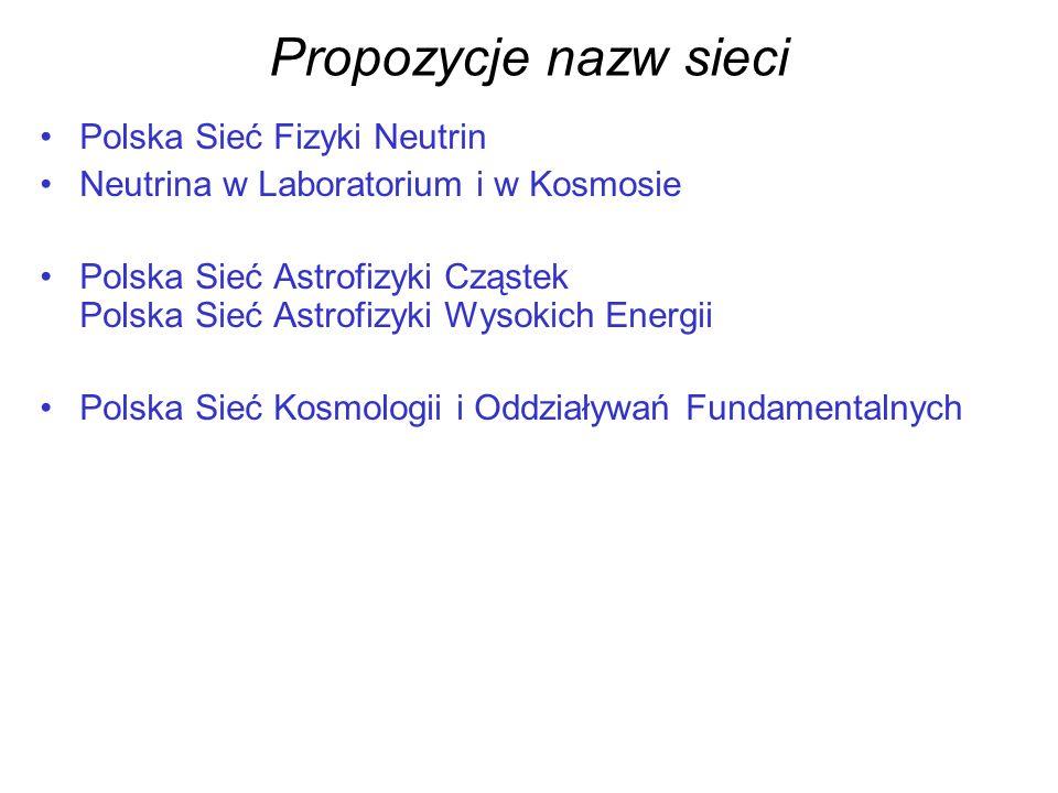 Propozycje nazw sieci Polska Sieć Fizyki Neutrin Neutrina w Laboratorium i w Kosmosie Polska Sieć Astrofizyki Cząstek Polska Sieć Astrofizyki Wysokich Energii Polska Sieć Kosmologii i Oddziaływań Fundamentalnych