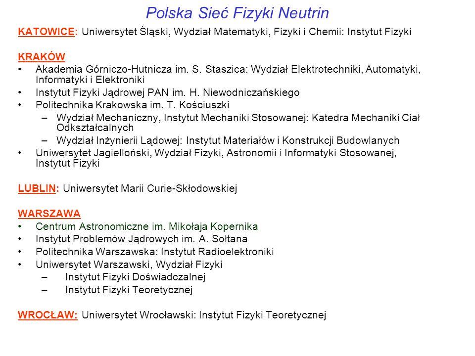 Polska Sieć Fizyki Neutrin KATOWICE: Uniwersytet Śląski, Wydział Matematyki, Fizyki i Chemii: Instytut Fizyki KRAKÓW Akademia Górniczo-Hutnicza im.