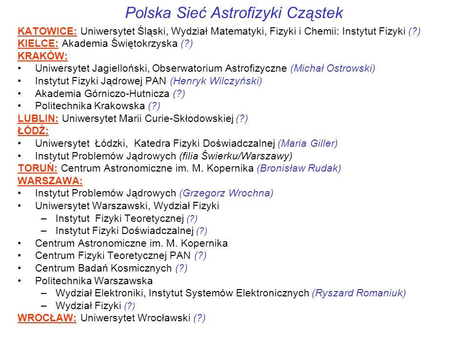 Polska Sieć Astrofizyki Cząstek KATOWICE: Uniwersytet Śląski, Wydział Matematyki, Fizyki i Chemii: Instytut Fizyki (?) KIELCE: Akademia Świętokrzyska