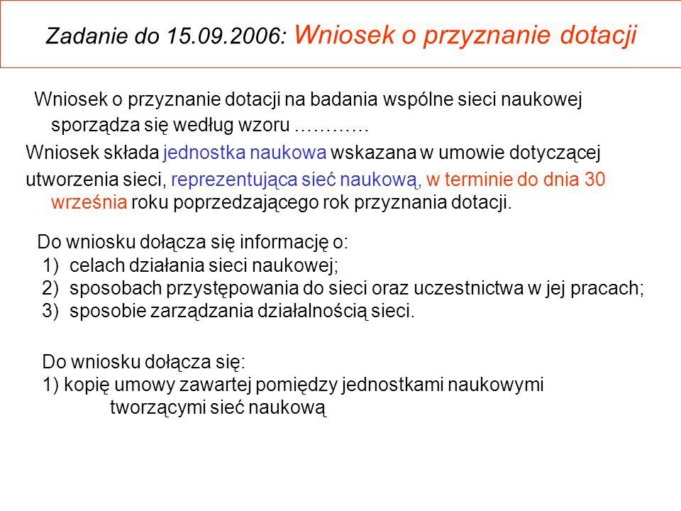 Zadanie do 15.09.2006: Wniosek o przyznanie dotacji Wniosek o przyznanie dotacji na badania wspólne sieci naukowej sporządza się według wzoru ………… Wni