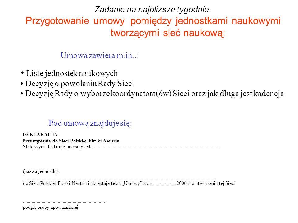 Zadanie na najbliższe tygodnie: Przygotowanie umowy pomiędzy jednostkami naukowymi tworzącymi sieć naukową: DEKLARACJA Przystąpienia do Sieci Polskiej Fizyki Neutrin Niniejszym deklaruję przystąpienie.....................................................................................................
