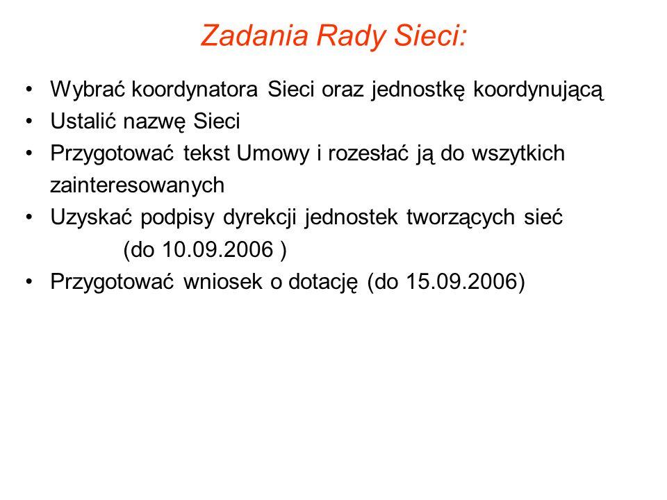 Zadania Rady Sieci: Wybrać koordynatora Sieci oraz jednostkę koordynującą Ustalić nazwę Sieci Przygotować tekst Umowy i rozesłać ją do wszytkich zainteresowanych Uzyskać podpisy dyrekcji jednostek tworzących sieć (do 10.09.2006 ) Przygotować wniosek o dotację (do 15.09.2006)