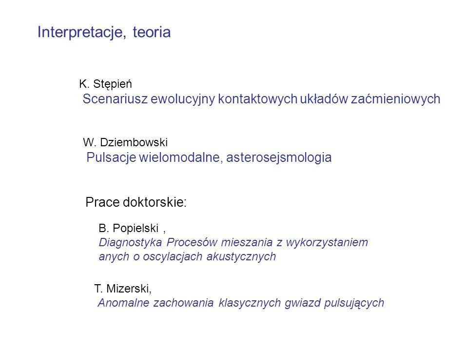 Interpretacje, teoria K. Stępień Scenariusz ewolucyjny kontaktowych układów zaćmieniowych W. Dziembowski Pulsacje wielomodalne, asterosejsmologia Prac