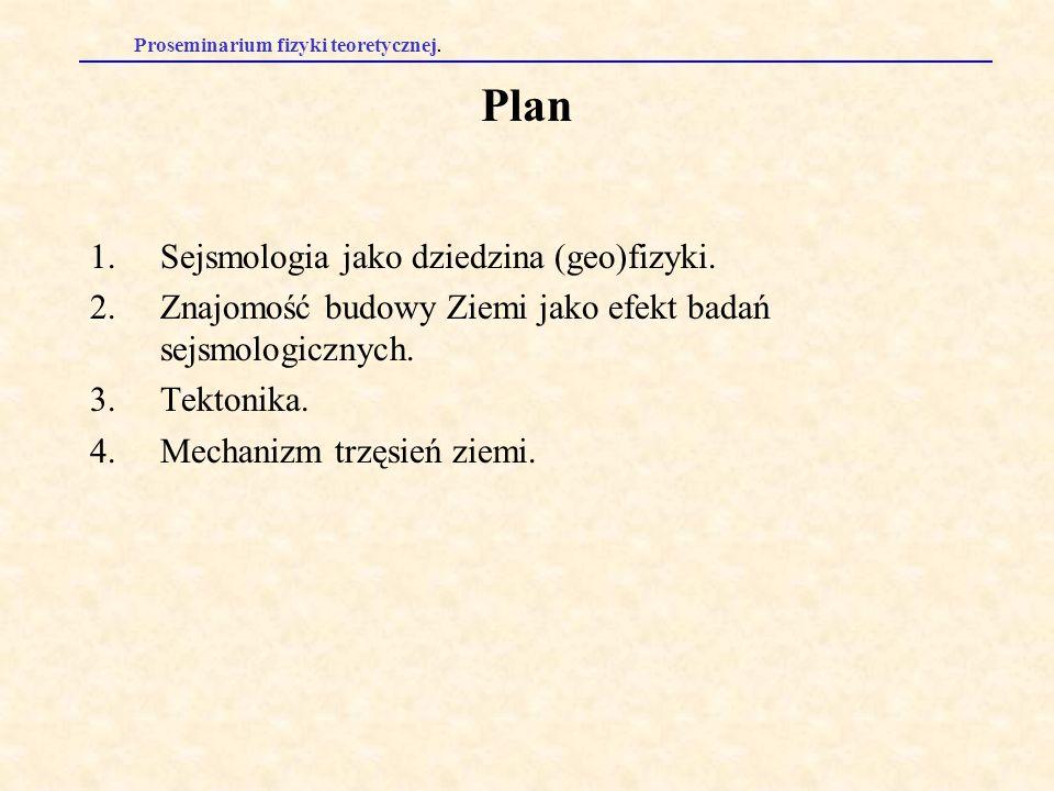 Proseminarium fizyki teoretycznej. Plan 1.Sejsmologia jako dziedzina (geo)fizyki. 2.Znajomość budowy Ziemi jako efekt badań sejsmologicznych. 3.Tekton