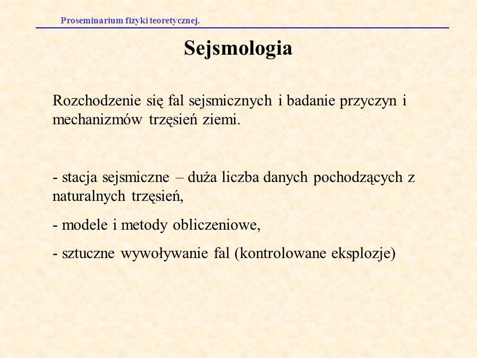 Proseminarium fizyki teoretycznej. Sejsmologia Rozchodzenie się fal sejsmicznych i badanie przyczyn i mechanizmów trzęsień ziemi. - stacja sejsmiczne