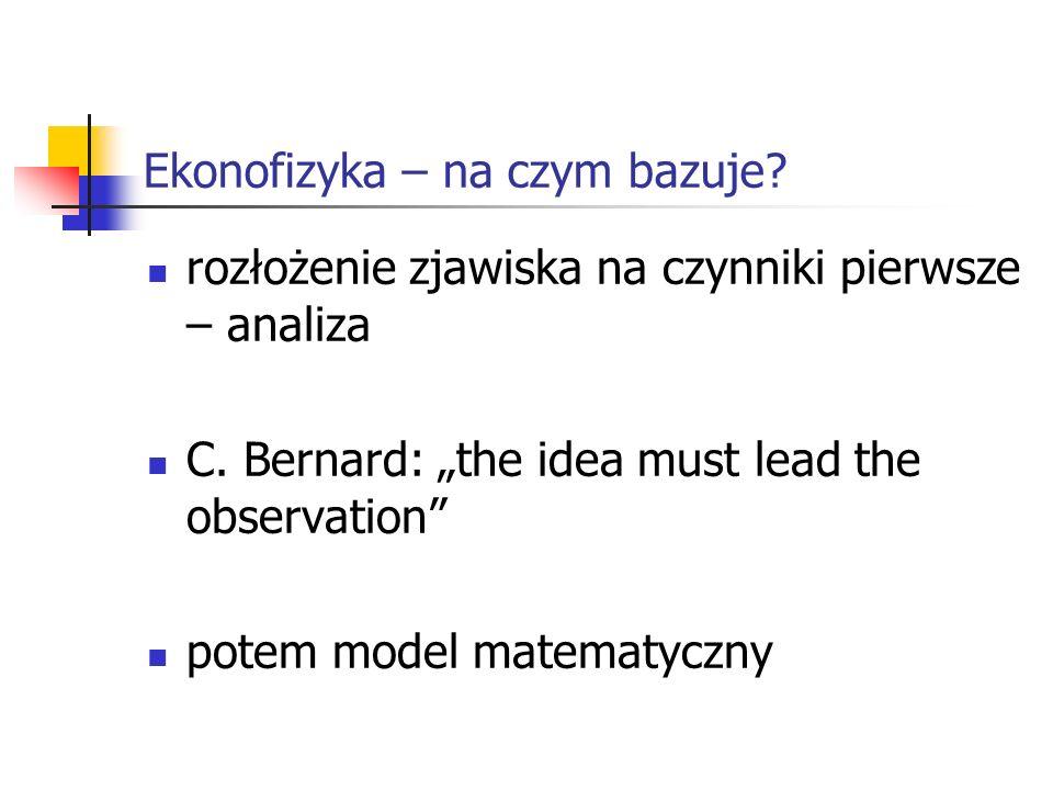 Ekonofizyka – na czym bazuje? rozłożenie zjawiska na czynniki pierwsze – analiza C. Bernard: the idea must lead the observation potem model matematycz
