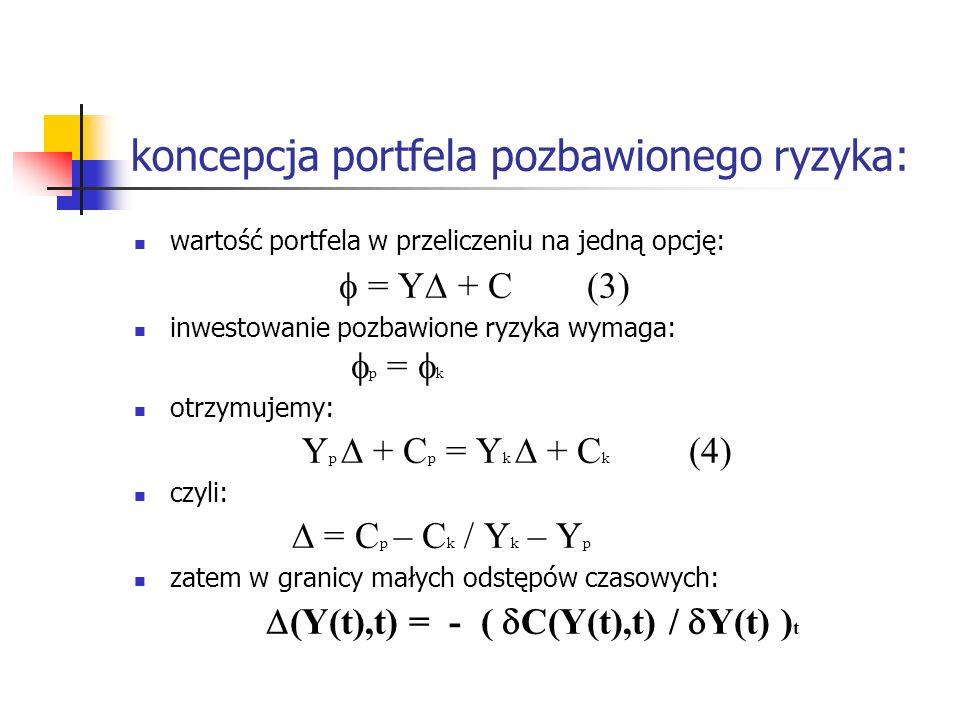 koncepcja portfela pozbawionego ryzyka: wartość portfela w przeliczeniu na jedną opcję: = Y + C (3) inwestowanie pozbawione ryzyka wymaga: p = k otrzy