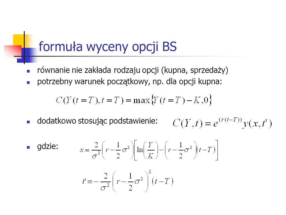 formuła wyceny opcji BS równanie nie zakłada rodzaju opcji (kupna, sprzedaży) potrzebny warunek początkowy, np. dla opcji kupna: dodatkowo stosując po