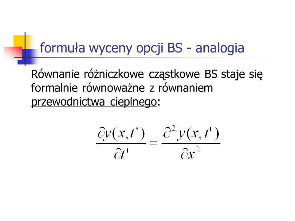 formuła wyceny opcji BS - analogia Równanie różniczkowe cząstkowe BS staje się formalnie równoważne z równaniem przewodnictwa cieplnego: