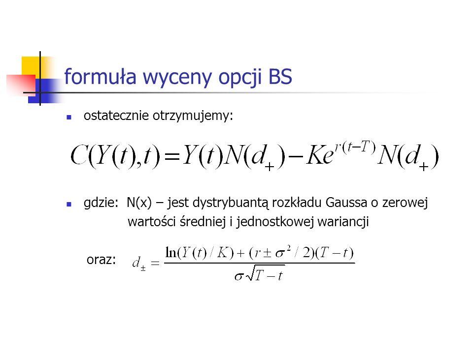 formuła wyceny opcji BS ostatecznie otrzymujemy: gdzie: N(x) – jest dystrybuantą rozkładu Gaussa o zerowej wartości średniej i jednostkowej wariancji