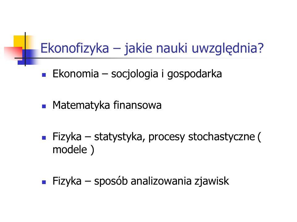 Ekonofizyka – jakie nauki uwzględnia? Ekonomia – socjologia i gospodarka Matematyka finansowa Fizyka – statystyka, procesy stochastyczne ( modele ) Fi