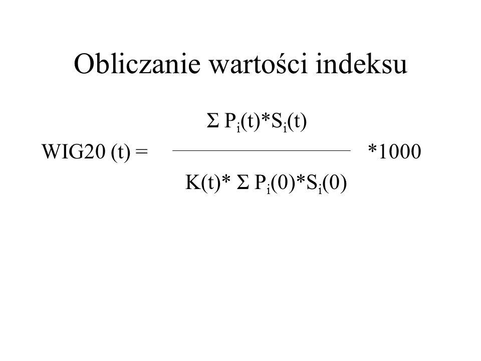 Obliczanie wartości indeksu Σ P i (t)*S i (t) WIG20 (t) = *1000 K(t)* Σ P i (0)*S i (0)