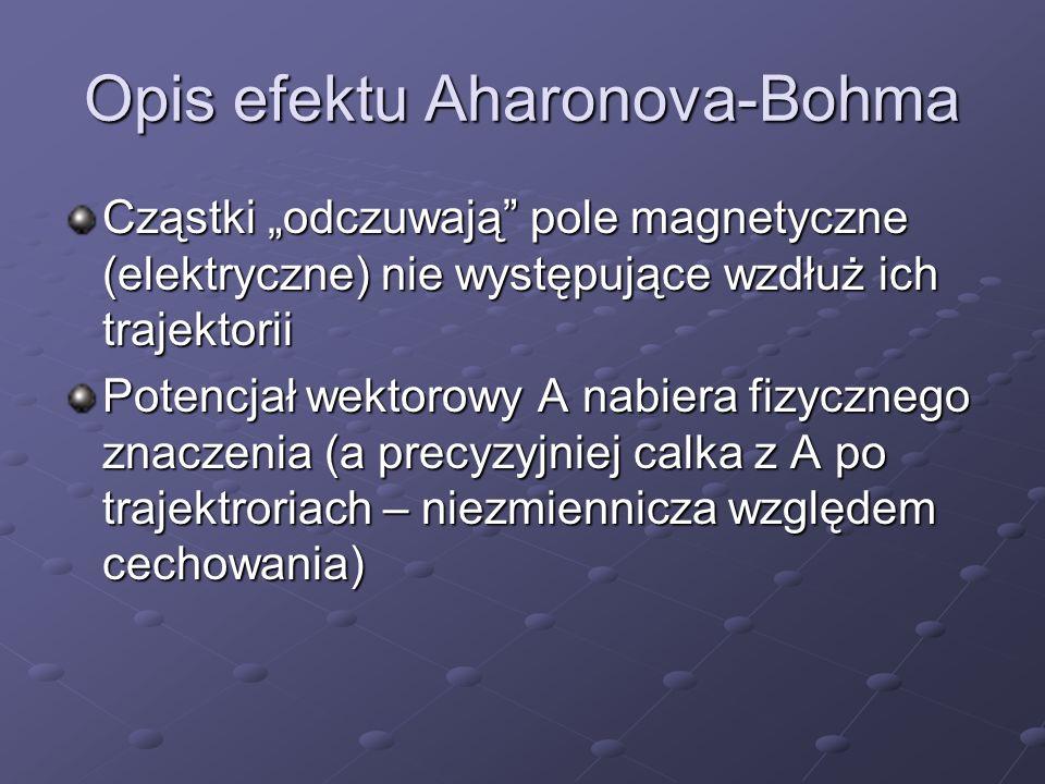 Opis efektu Aharonova-Bohma Cząstki odczuwają pole magnetyczne (elektryczne) nie występujące wzdłuż ich trajektorii Potencjał wektorowy A nabiera fizy