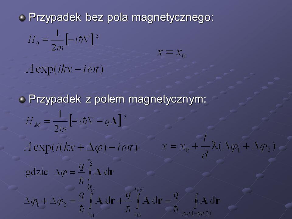 Przypadek bez pola magnetycznego: Przypadek z polem magnetycznym: