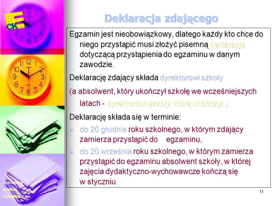 EGZAMINACYJNA CENTRALNA KOMISJA 13 Deklaracja zdającego Egzamin jest nieobowiązkowy, dlatego każdy kto chce do niego przystąpić musi złożyć pisemną de