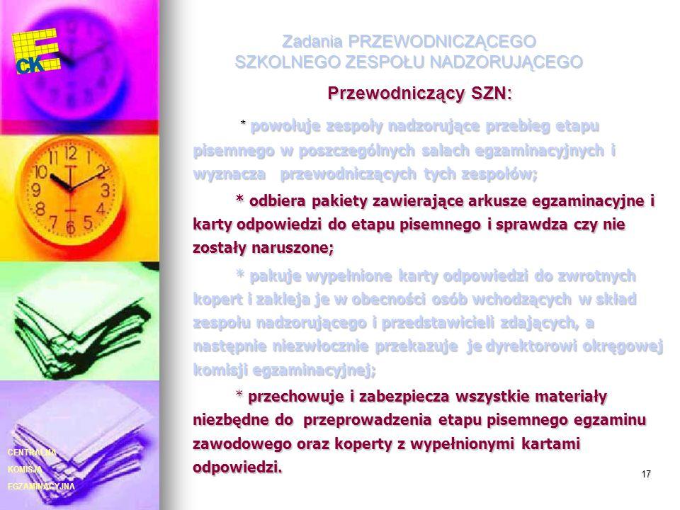 EGZAMINACYJNA CENTRALNA KOMISJA 17 Zadania PRZEWODNICZĄCEGO SZKOLNEGO ZESPOŁU NADZORUJĄCEGO Przewodniczący SZN: * powołuje zespoły nadzorujące przebie