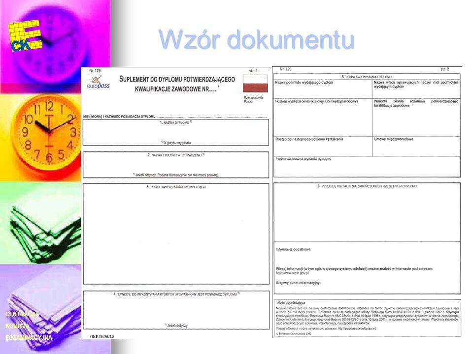 EGZAMINACYJNA CENTRALNA KOMISJA 28 Wzór dokumentu