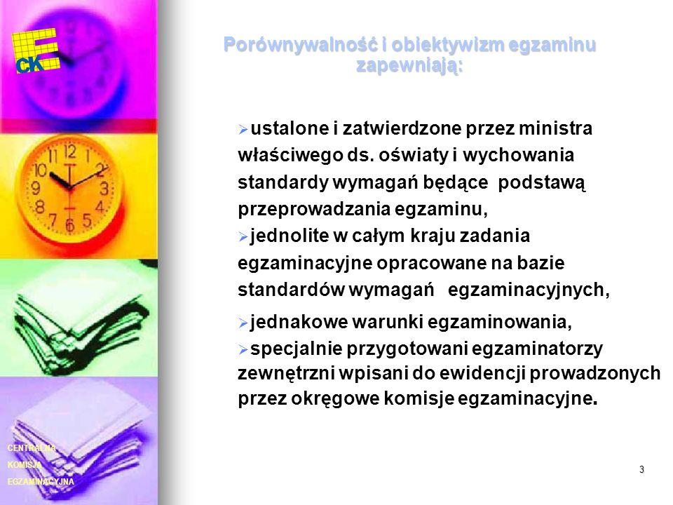 EGZAMINACYJNA CENTRALNA KOMISJA 3 Porównywalność i obiektywizm egzaminu zapewniają: ustalone i zatwierdzone przez ministra właściwego ds. oświaty i wy